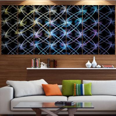 Designart Blue Unusual Fractal Metal Grill Abstract Canvas Wall Art - 7 Panels