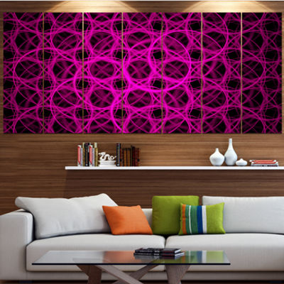Pink Unusual Fractal Metal Grill Abstract Canvas Wall Art - 4 Panels