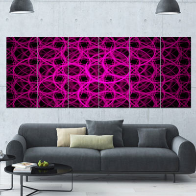 Pink Unusual Fractal Metal Grill Abstract Canvas Wall Art - 6 Panels