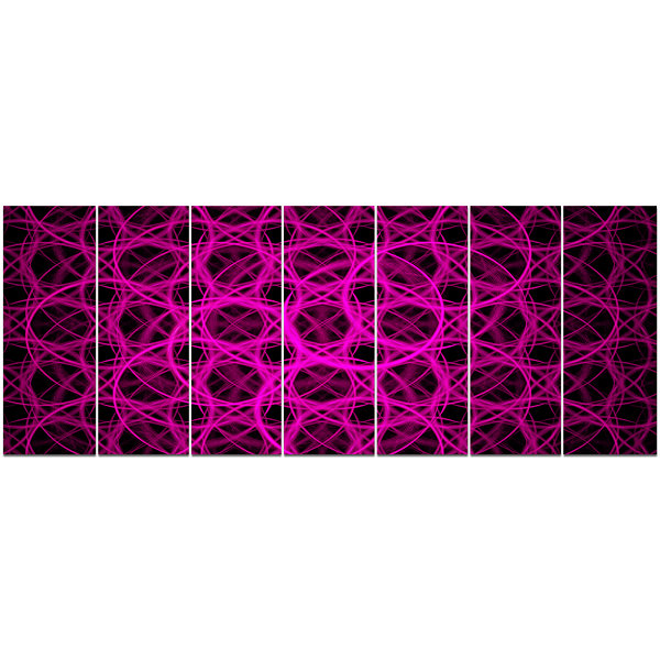Pink Unusual Fractal Metal Grill Abstract Canvas Wall Art - 7 Panels