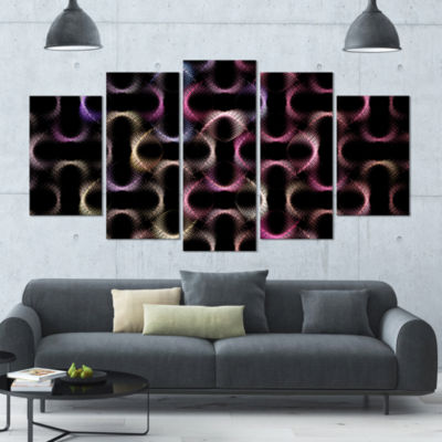 Colorful Unusual Metal Grill Contemporary Wall ArtCanvas - 5 Panels