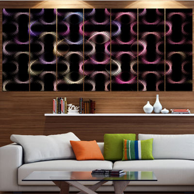 Designart Colorful Unusual Metal Grill Abstract Canvas WallArt - 7 Panels