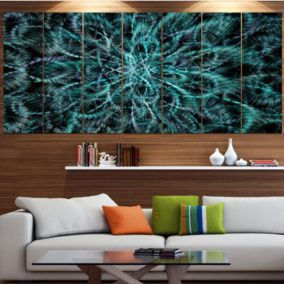 Unusual Starry Fractal Metal Grill Contemporary Canvas Wall Art - 5 Panels