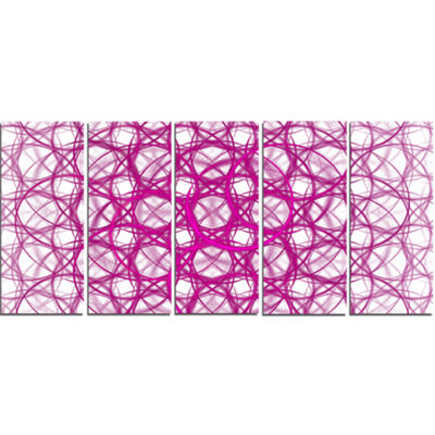 Pink Unusual Metal Grill Abstract Canvas Wall Art-5 Panels