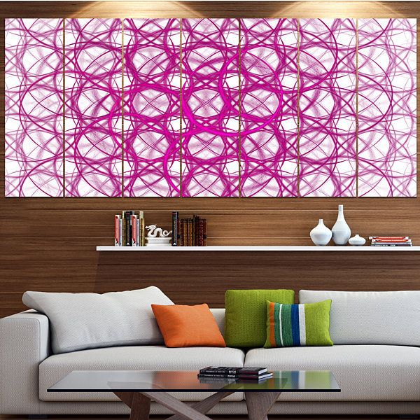 Pink Unusual Metal Grill Abstract Canvas Wall Art- 7 Panels