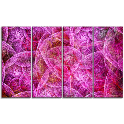 Pink Fractal Dramatic Clouds Abstract Canvas WallArt - 4 Panels