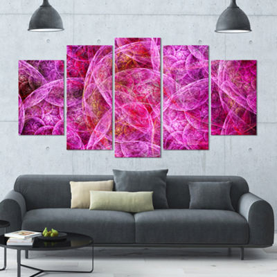 Pink Fractal Dramatic Clouds Contemporary Canvas Wall Art - 5 Panels