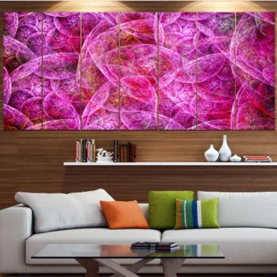 Pink Fractal Dramatic Clouds Abstract Canvas WallArt - 6 Panels