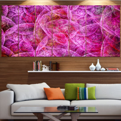 Pink Fractal Dramatic Clouds Abstract Canvas WallArt - 7 Panels