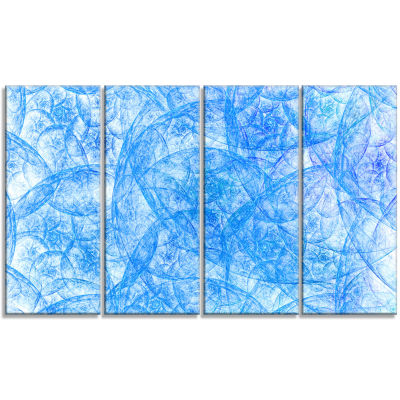 Blue Fractal Dramatic Clouds Abstract Canvas Art Print - 4 Panels