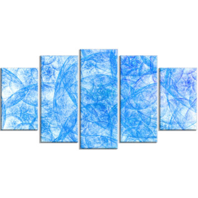 Blue Fractal Dramatic Clouds Contemporary Canvas Art Print - 5 Panels