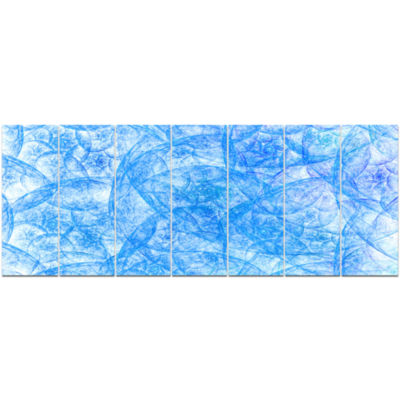 Blue Fractal Dramatic Clouds Abstract Canvas Art Print - 7 Panels