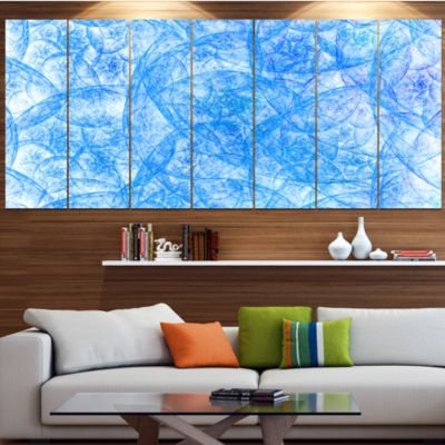 Designart Blue Fractal Dramatic Clouds Abstract Canvas Art Print - 7 Panels