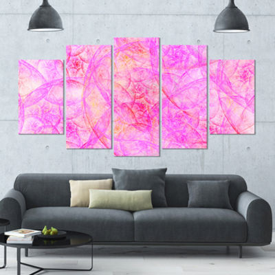 Rose Fractal Dramatic Clouds Contemporary Canvas Art Print - 5 Panels
