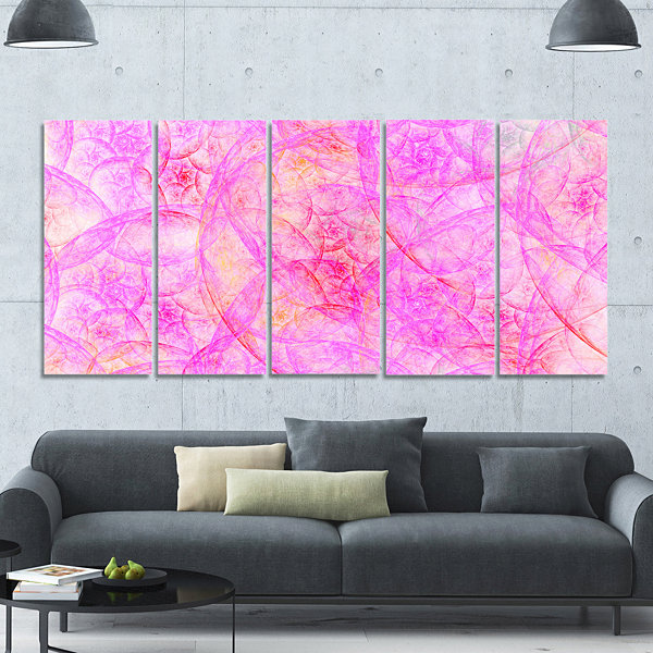 Rose Fractal Dramatic Clouds Abstract Canvas Art Print - 5 Panels