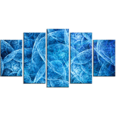 Dark Blue Fractal Dramatic Clouds Contemporary Canvas Art Print - 5 Panels