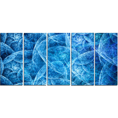 Designart Dark Blue Fractal Dramatic Clouds Abstract CanvasArt Print - 5 Panels