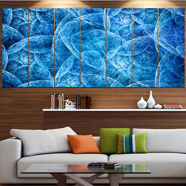 Designart Dark Blue Fractal Dramatic Clouds Abstract CanvasArt Print - 7 Panels