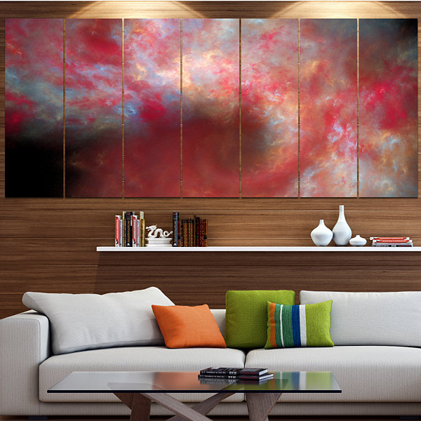 Red Starry Fractal Sky Abstract Canvas Art Print -5 Panels