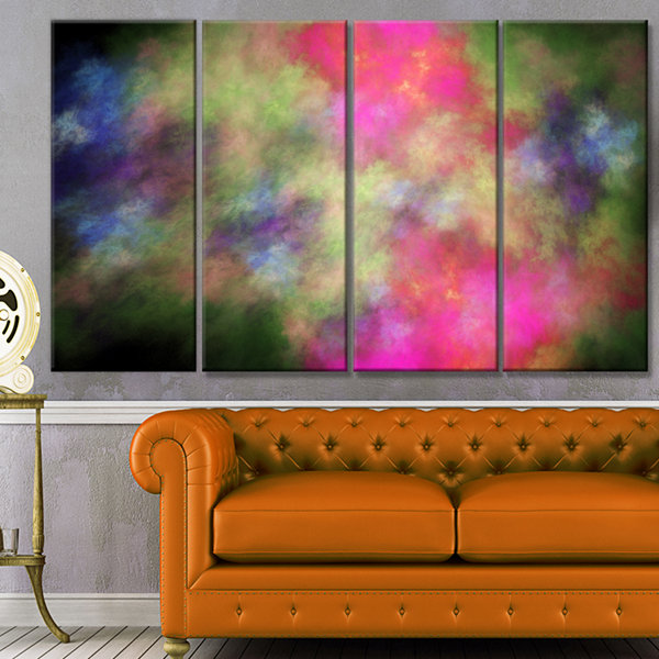Pink Starry Fractal Sky Abstract Canvas Art Print-4 Panels