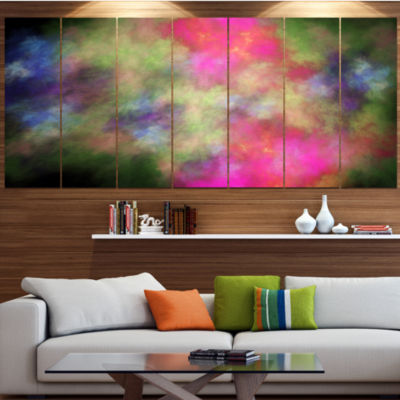 Pink Starry Fractal Sky Abstract Canvas Art Print- 5 Panels