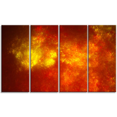 Orange Starry Fractal Sky Abstract Canvas Art Print - 4 Panels