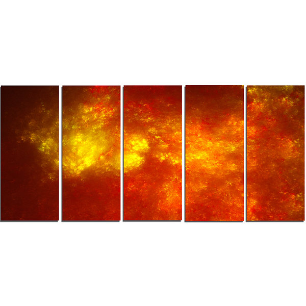 Orange Starry Fractal Sky Abstract Canvas Art Print - 5 Panels