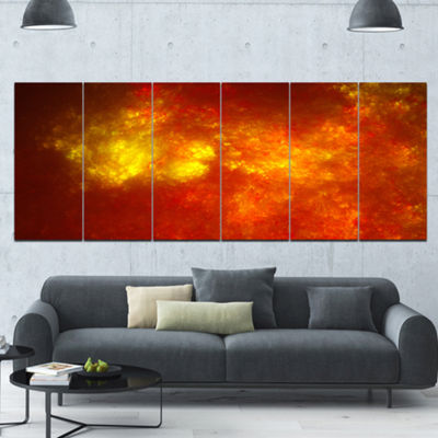 Orange Starry Fractal Sky Abstract Canvas Art Print - 6 Panels