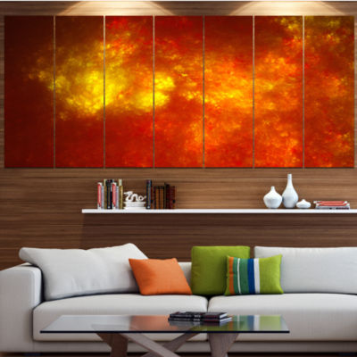 Orange Starry Fractal Sky Abstract Canvas Art Print - 7 Panels