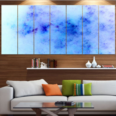 Light Blue Starry Fractal Sky Abstract Wrapped Canvas Art Print - 5 Panels