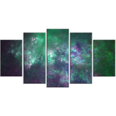 Green Starry Fractal Sky Contemporary Canvas Art Print - 5 Panels