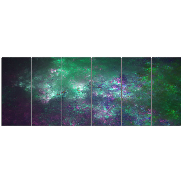 Green Starry Fractal Sky Abstract Canvas Art Print- 6 Panels