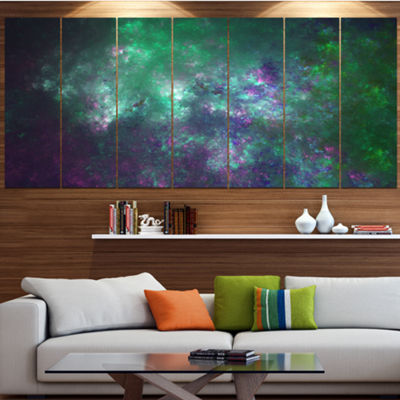 Green Starry Fractal Sky Abstract Canvas Art Print- 7 Panels
