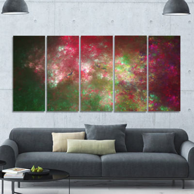Designart Colorful Starry Fractal Sky Abstract Canvas Art Print - 5 Panels