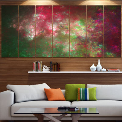 Designart Colorful Starry Fractal Sky Abstract Canvas Art Print - 7 Panels