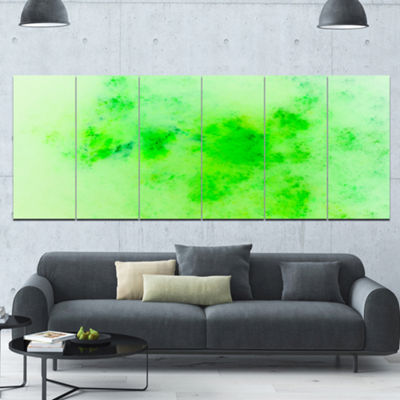 Designart Bright Green Starry Fractal Sky AbstractCanvas Art Print - 6 Panels