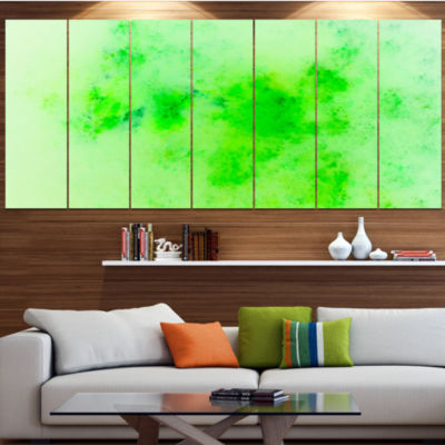 Bright Green Starry Fractal Sky Abstract Canvas Art Print - 7 Panels