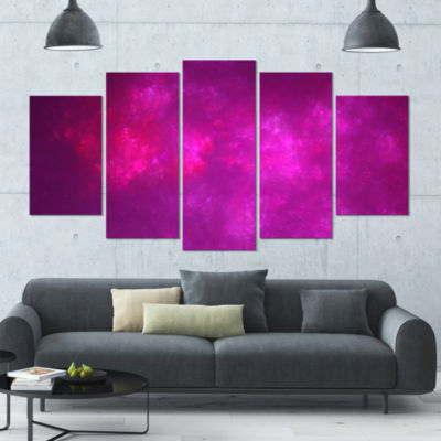 Bright Pink Starry Fractal Sky Contemporary CanvasArt Print - 5 Panels
