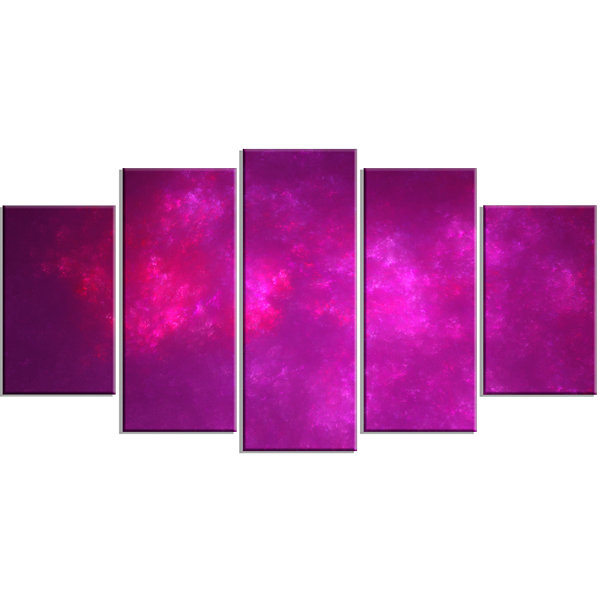 Designart Bright Pink Starry Fractal Sky Contemporary CanvasArt Print - 5 Panels