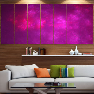 Designart Bright Pink Starry Fractal Sky AbstractCanvas ArtPrint - 6 Panels