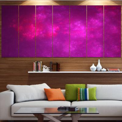 Designart Bright Pink Starry Fractal Sky AbstractCanvas ArtPrint - 7 Panels