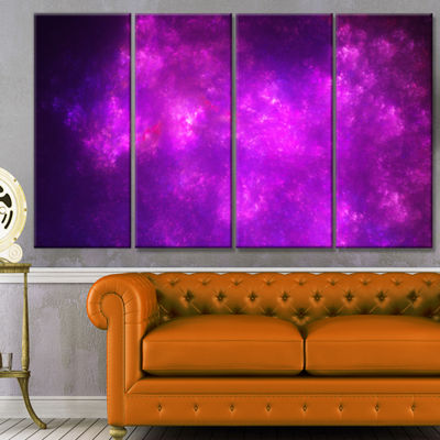 Purple Starry Fractal Sky Abstract Canvas Art Print - 4 Panels