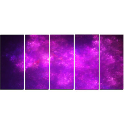 Purple Starry Fractal Sky Abstract Canvas Art Print - 5 Panels