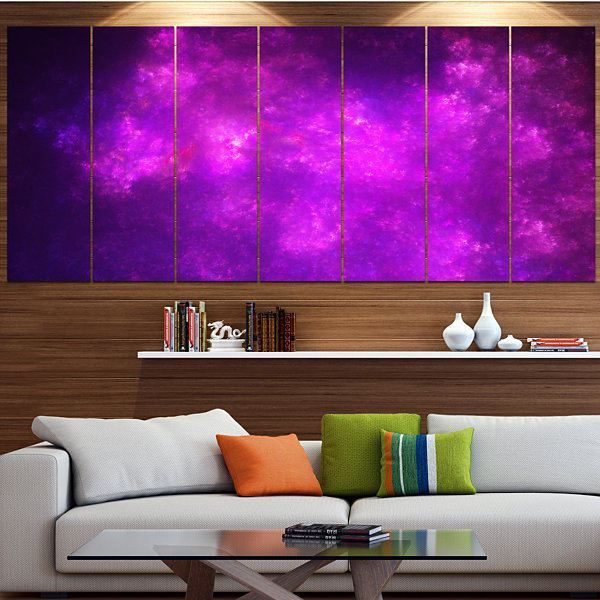 Purple Starry Fractal Sky Abstract Canvas Art Print - 6 Panels
