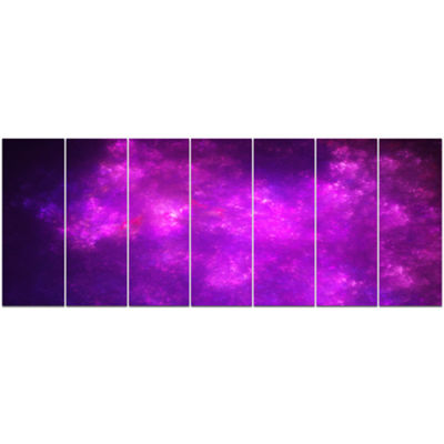 Purple Starry Fractal Sky Abstract Canvas Art Print - 7 Panels