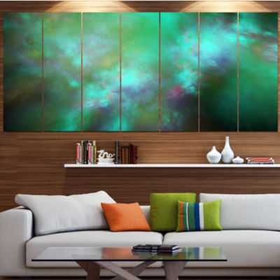 Designart Blue Fractal Sky With Blur Stars Abstract Canvas Art Print - 4 Panels