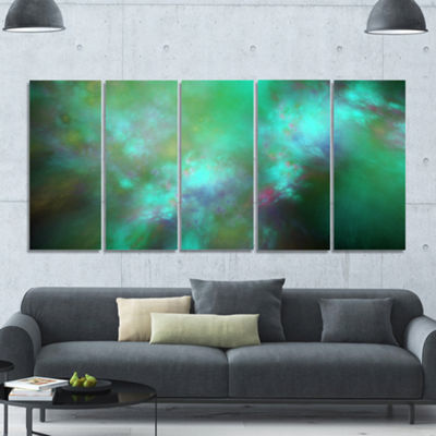 Designart Blue Fractal Sky With Blur Stars Abstract Canvas Art Print - 5 Panels
