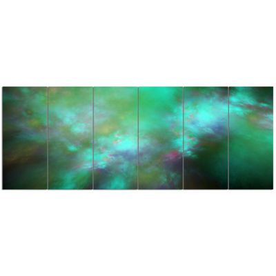 Designart Blue Fractal Sky With Blur Stars Abstract Canvas Art Print - 6 Panels