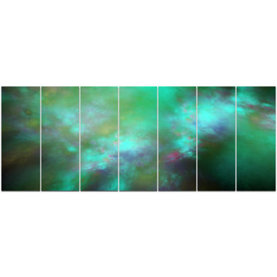 Designart Blue Fractal Sky With Blur Stars Abstract Canvas Art Print - 7 Panels