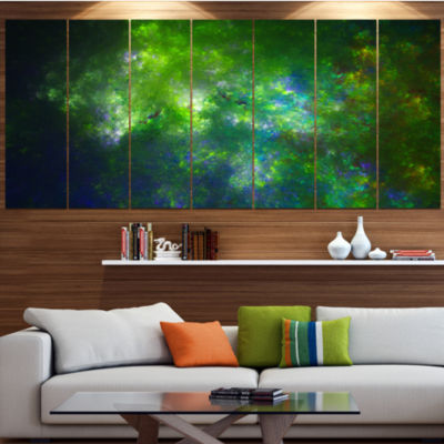 Green Fractal Sky With Blur Stars Contemporary Canvas Art Print - 5 Panels